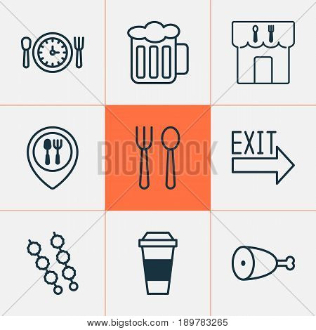 Restaurant Icons Set. Collection Of Fried Poultry, Mocha, Restaurant And Other Elements. Also Includes Symbols Such As Food, Kebab, Lunch.