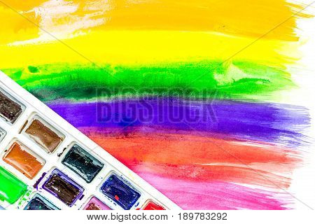 Color oil painting texture with paint pallete for bright abstract background