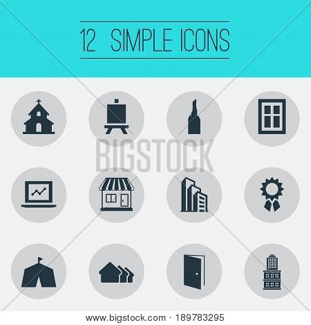 Vector Illustration Set Of Simple Architecture Icons. Elements Laptop, City Structure, Painting Board And Other Synonyms Gate, Stall And Windows.