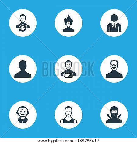 Vector Illustration Set Of Simple Human Icons. Elements Office Worker, Male User, Young Shaver And Other Synonyms Developer, Sportsman And Mad.