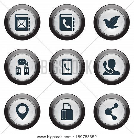 Vector Illustration Set Of Simple Contact Icons. Elements Speaking Human, Address Book, Pin And Other Synonyms Calling, Address And Call.