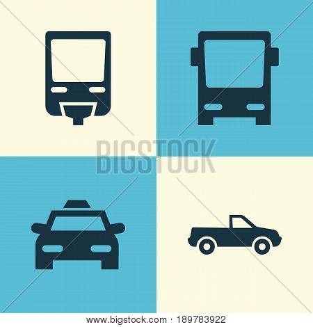 Shipment Icons Set. Collection Of Cabriolet, Railroad, Cab And Other Elements. Also Includes Symbols Such As Train, Railroad, Car.