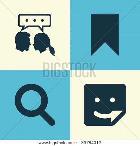 Internet Icons Set. Collection Of Flag, Conversation, Magnifier And Other Elements. Also Includes Symbols Such As Pennant, Magnifier, Bookmark.