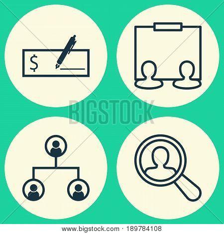 Management Icons Set. Collection Of Find Employee, Bank Payment, Publicity And Other Elements. Also Includes Symbols Such As Organisation, Dollar, Search.
