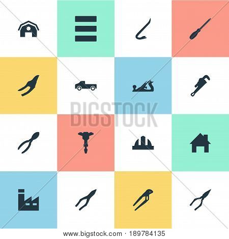 Vector Illustration Set Of Simple Repair Icons. Elements Hangar, Automatic Screwdriver, Helmet And Other Synonyms Equipment, Hangar And Jimmy.