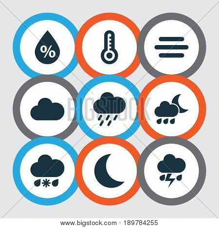 Climate Icons Set. Collection Of Nightly, Temperature, Haze And Other Elements. Also Includes Symbols Such As Douche, Cold, Flash.