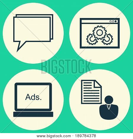 Marketing Icons Set. Collection Of Digital Media, Web Page Performance, Report And Other Elements. Also Includes Symbols Such As Optimization, Performance, Advertising.