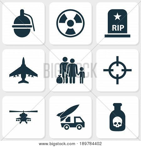 Warfare Icons Set. Collection Of Fugitive, Bombshell, Ordnance And Other Elements. Also Includes Symbols Such As Rockets, Ordnance, Grave.