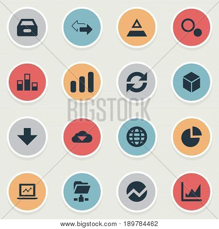 Vector Illustration Set Of Simple Information Icons. Elements Hexagon, Earth, Economy And Other Synonyms Fiqure, Finance And Reload.