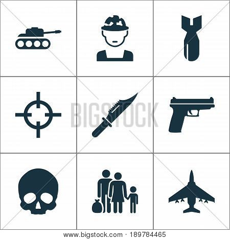 Warfare Icons Set. Collection Of Panzer, Rocket, Cutter And Other Elements. Also Includes Symbols Such As People, Gun, Aircraft.