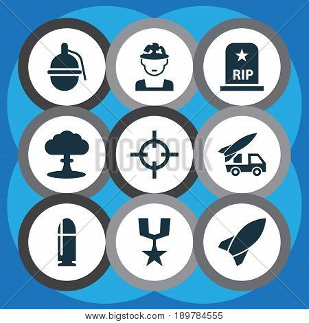 Battle Icons Set. Collection Of Order, Atom, Missile And Other Elements. Also Includes Symbols Such As Rockets, Slug, Military.
