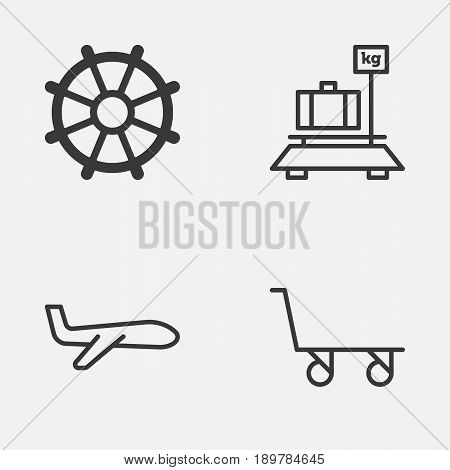 Vehicle Icons Set. Collection Of Boat Helm, Baggage, Cargo Cart And Other Elements. Also Includes Symbols Such As Trolley, Weight, Baggage.