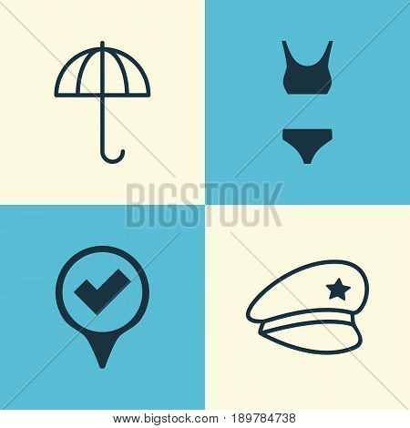 Tourism Icons Set. Collection Of Checked Pointer, Cop Hat, Gingham And Other Elements. Also Includes Symbols Such As Underwear, Police, Gingham.