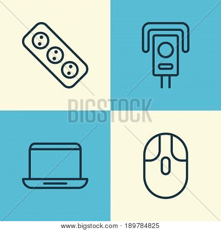 Icons Set. Collection Of Extension Cord, Notebook, Cursor Mouse And Other Elements. Also Includes Symbols Such As Socket, Cursor, Computer.
