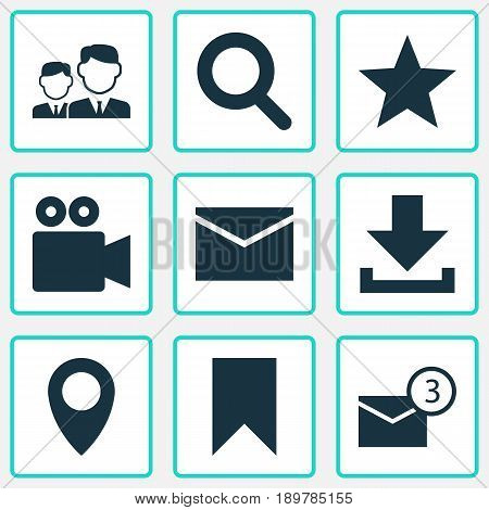 Media Icons Set. Collection Of Down Arrow, Magnifier, Inbox And Other Elements. Also Includes Symbols Such As Download, Inbox, Camcorder.