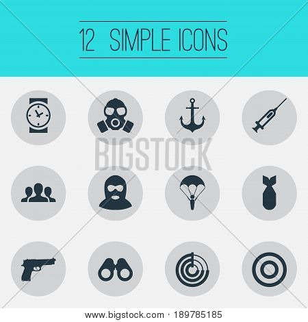 Vector Illustration Set Of Simple Army Icons. Elements Watch, Terrorist, Ship Hook And Other Synonyms Team, Respirator And Spyglass.