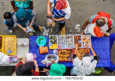Kota Kinabalu,Sabah,Malaysia-May 28,2017:Street local foods in Kota Kinabalu,Sabah,Borneo.Kota Kinabalu is known as one of the most vibrant & popular food capitals in the Sabah,Borneo,Malaysia,Asia.