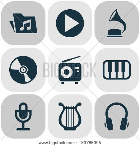 Multimedia Icons Set. Collection Of Octave, Mike, Phonograph And Other Elements. Also Includes Symbols Such As Earphone, Dossier, Turntable.