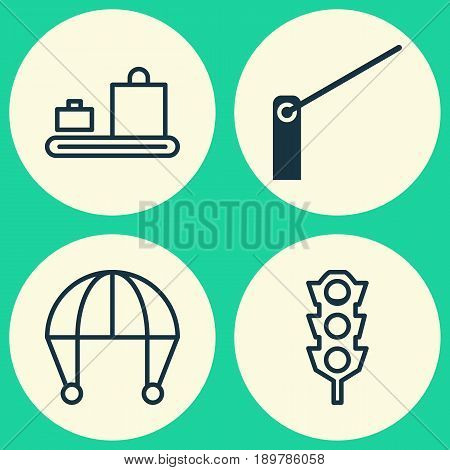Transportation Icons Set. Collection Of Baggage Carousel, Stoplight, Roadblock And Other Elements. Also Includes Symbols Such As Stoplight, Barrier, Roadblock.