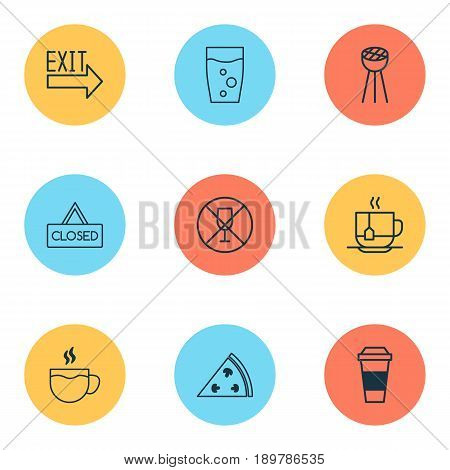Icons Set. Collection Of Closed Placard, Hot Drink, Alcohol Forbid And Other Elements. Also Includes Symbols Such As Closed, No, Pizzeria.