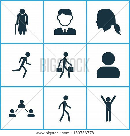 Human Icons Set. Collection Of Happy, Gentlewoman Head, Jogging And Other Elements. Also Includes Symbols Such As Social, Running, Walking.