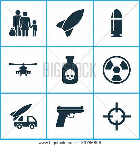 Warfare Icons Set. Collection Of Dangerous, Missile, Slug And Other Elements. Also Includes Symbols Such As Bullet, People, Rocket.