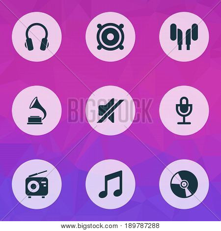 Multimedia Icons Set. Collection Of Mike, Megaphone, Tuner And Other Elements. Also Includes Symbols Such As Vinyl, Phonograph, Silent.