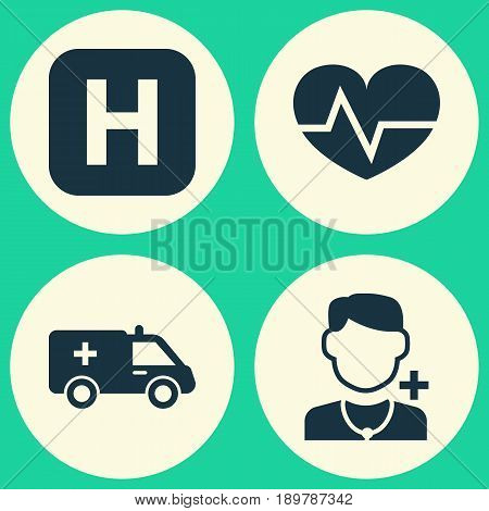Drug Icons Set. Collection Of Beating, Physician, First-Aid And Other Elements. Also Includes Symbols Such As Heartbeat, Capsule, Physician.