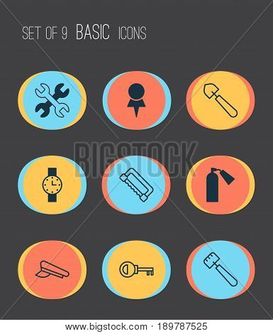 Tools Icons Set. Collection Of Password, Carpentry, Cop Cap And Other Elements. Also Includes Symbols Such As Access, Scoop, Tool.