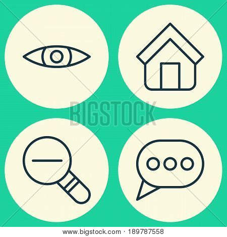 Icons Set. Collection Of Glance, Estate, Message Bubble And Other Elements. Also Includes Symbols Such As Zoom, Rustication, Shelter.