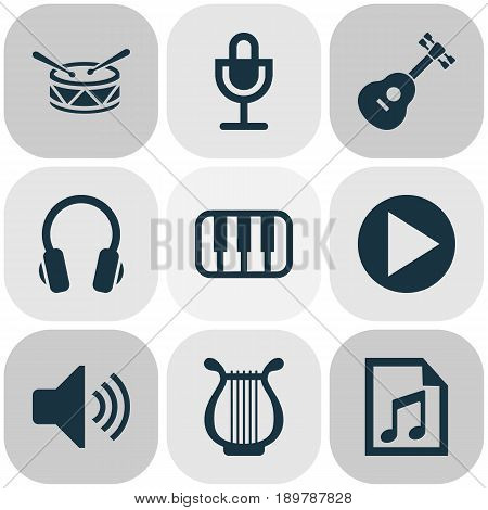 Audio Icons Set. Collection Of Earphone, Instrument, Octave And Other Elements. Also Includes Symbols Such As Button, Mike, Drum.