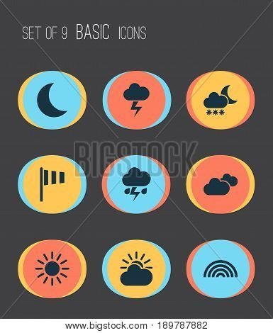 Climate Icons Set. Collection Of Moon, Colors, Night And Other Elements. Also Includes Symbols Such As Sunny, Sun, Overcast.