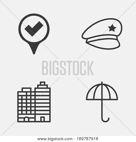 Travel Icons Set. Collection Of Cop Hat, Gingham, Hotel And Other Elements. Also Includes Symbols Such As Umbrella, Pointer, Hotel.