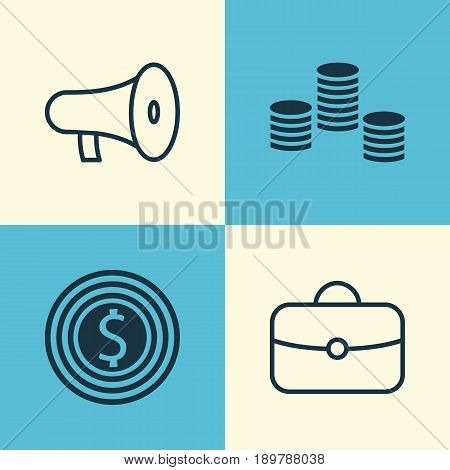 Hr Icons Set. Collection Of Bullhorn, Briefcase, Money And Other Elements. Also Includes Symbols Such As Success, Bullhorn, Suitcase.