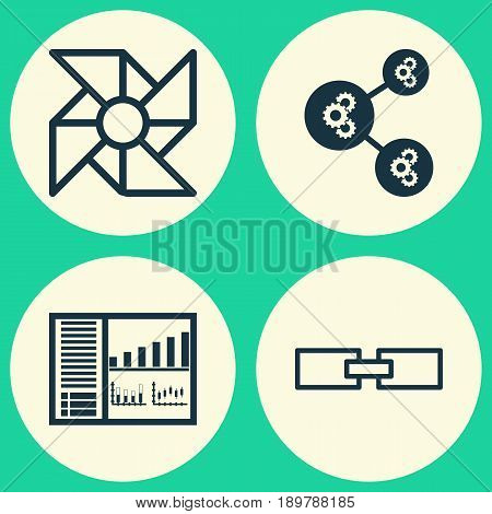 Icons Set. Collection Of Algorithm Illustration, Controlling Board, Laptop Ventilator And Other Elements. Also Includes Symbols Such As Cooler, Algorithm, Linked.
