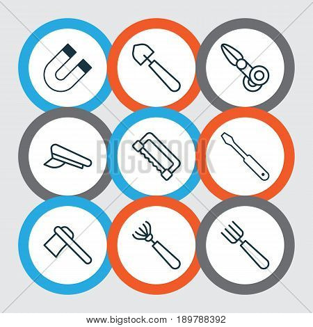 Tools Icons Set. Collection Of Garden Fork, Harrow, Attraction And Other Elements. Also Includes Symbols Such As Polarity, Cutting, Cutter.