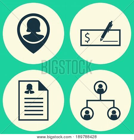 Hr Icons Set. Collection Of Bank Payment, Tree Structure, Female Application And Other Elements. Also Includes Symbols Such As Pin, Dollar, Female.