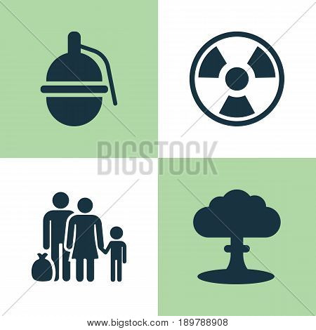 Warfare Icons Set. Collection Of Atom, Bombshell, Fugitive And Other Elements. Also Includes Symbols Such As Explosion, Bio, People.
