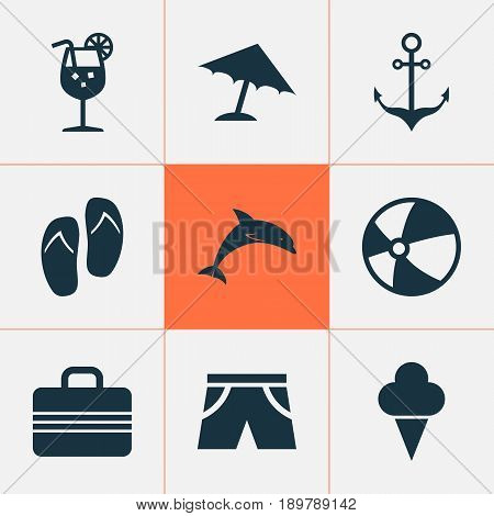 Icons Set. Collection Of Parasol, Smelting, Sorbet And Other Elements. Also Includes Symbols Such As Ship, Valise, Suitcase.