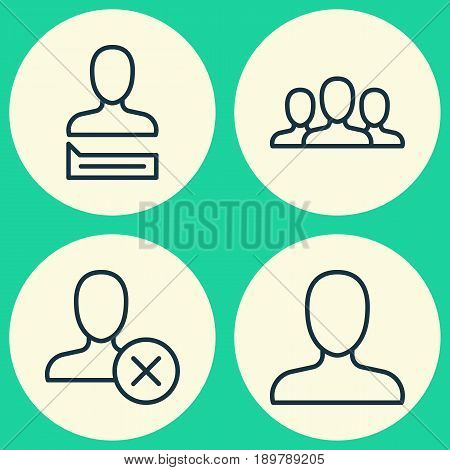 Social Icons Set. Collection Of Ban Person, Chatting Person, Society And Other Elements. Also Includes Symbols Such As Society, Letter, Profile.