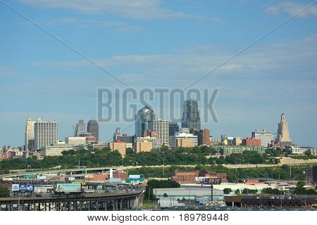 KANSAS CITY MO USA - May 31 2017: Kansas City Missouri is the sixth largest metropolitan area in the midwest and is a manufacturing agricultural and international trade hub.