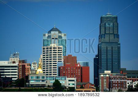 Kansas City Missouri Metro Building Skyline on a Sunny Day