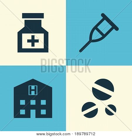 Antibiotic Icons Set. Collection Of Drug, Stand, Retreat Elements. Also Includes Symbols Such As Cure, Medicine, Stand.