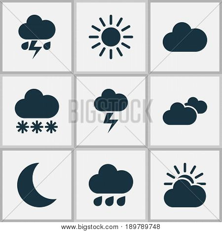 Weather Icons Set. Collection Of Lightning, Cloudy, Moon And Other Elements. Also Includes Symbols Such As Moonlight, Moon, Snow.