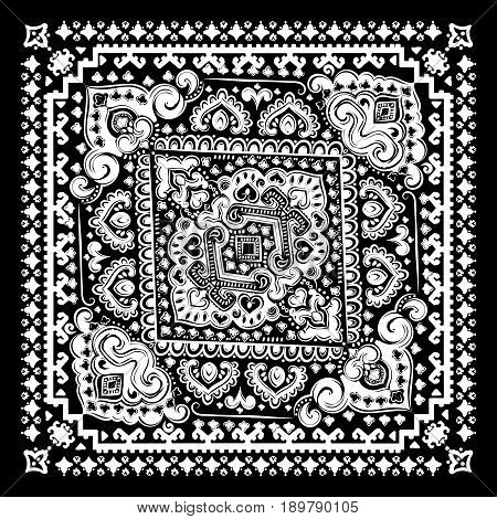 Bohemian Indian Mandala towel print. Vintage Henna tattoo style Indian medallion. Ethnic ornament could be used as shirt print, phone case print, textile, coloring book. Christmas holiday snowflake