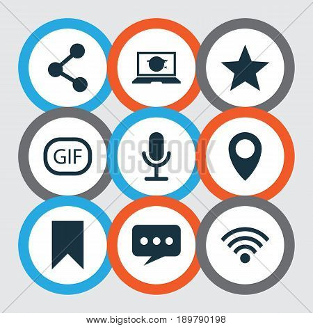 Social Icons Set. Collection Of Message, Publish, Wireless Connection And Other Elements. Also Includes Symbols Such As Location, Web, Gif.