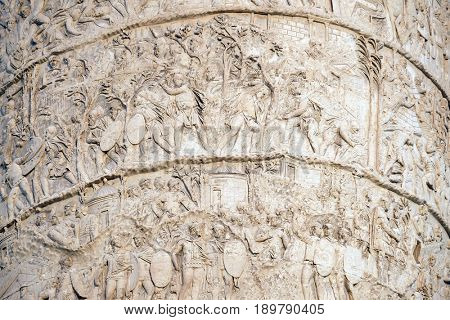 ROME, ITALY - SEPTEMBER 01: Trajan Column is a Roman triumphal column in Rome, Italy, that commemorates Roman emperor Trajan's victory in the Dacian Wars in Rome, Italy on September 01, 2016.