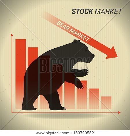 Bear market concept presents stock market with bear in front of red downtrend graph on brown paper