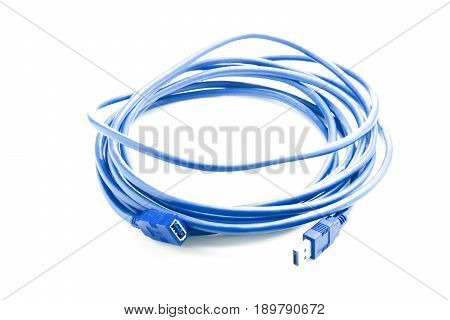 Blue USB cable isolated on white background