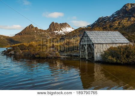 Boat shed in Dove lake at Cradle mountain and lake St.Clair national park of Tasmania, Australia.